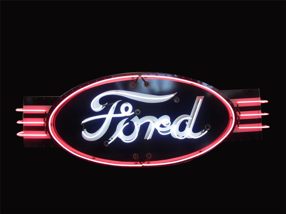 Beautiful Ford Automobiles double-sided neon porcelain sign with wings. - Front 3/4 - 192405