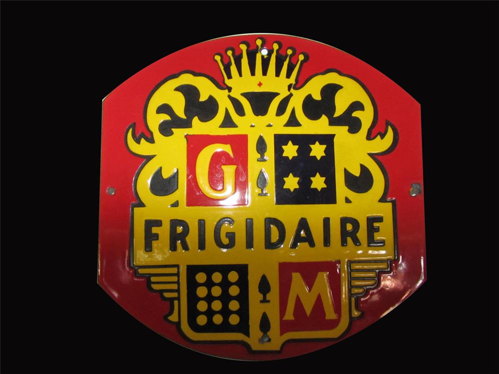 Circa 1930s GM Frigidaire single-sided porcelain sign with crest logo. - Front 3/4 - 192406