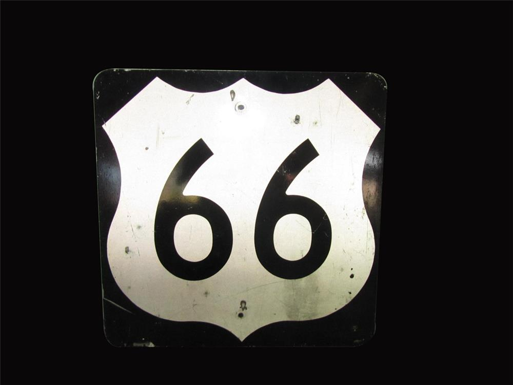 US Route 66 metal highway road sign. Presents well. - Front 3/4 - 192413