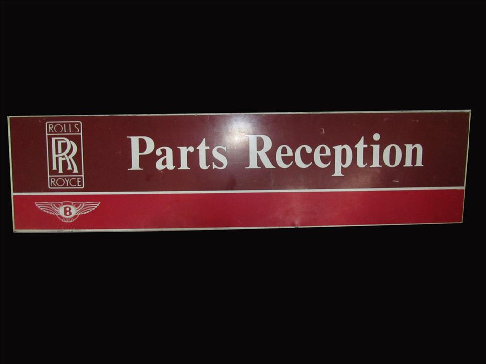 "Vintage Rolls Royce - Bentley dealership service department ""Parts Reception"" single-sided tin sign. - Front 3/4 - 192416"