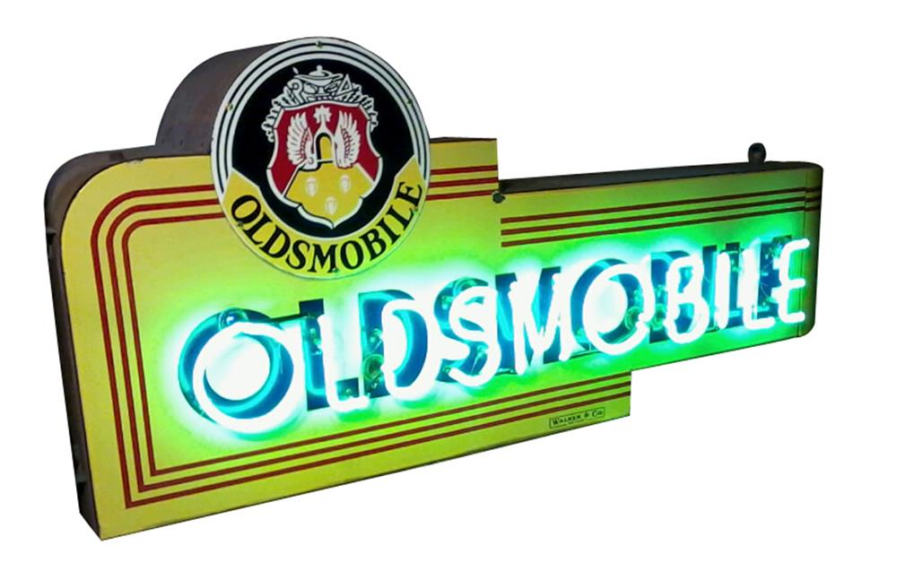 Rare late 1930s Oldsmobile double-sided neon porcelain dealership sign - Front 3/4 - 192422