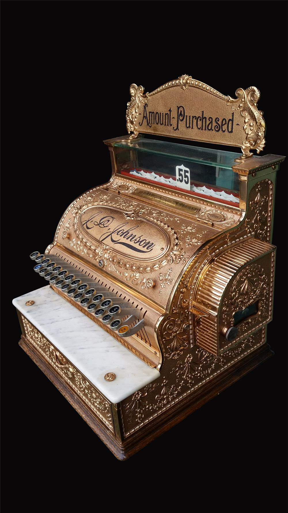 Beautiful turn of the century National Brass Cash Register restored to perfection. - Front 3/4 - 192429