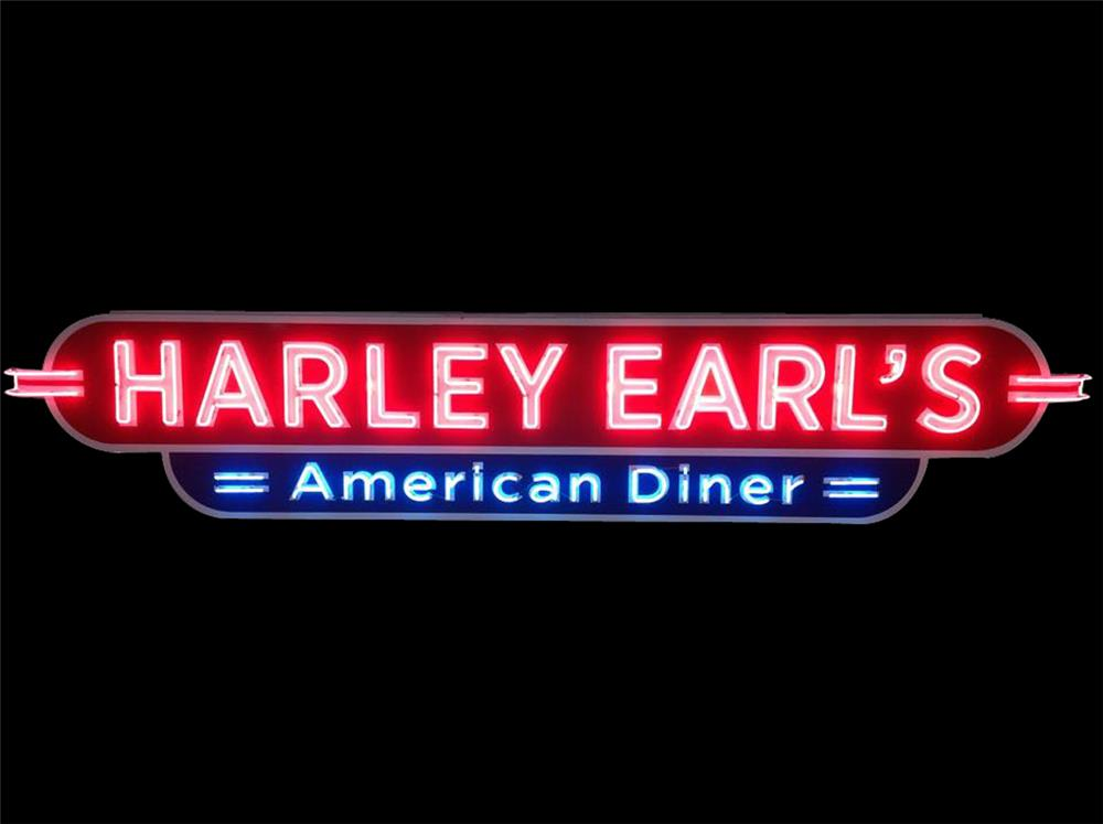 Large and wonderfully refurbished Harley Earl's American Diner single-sided neon sign. - Front 3/4 - 192431