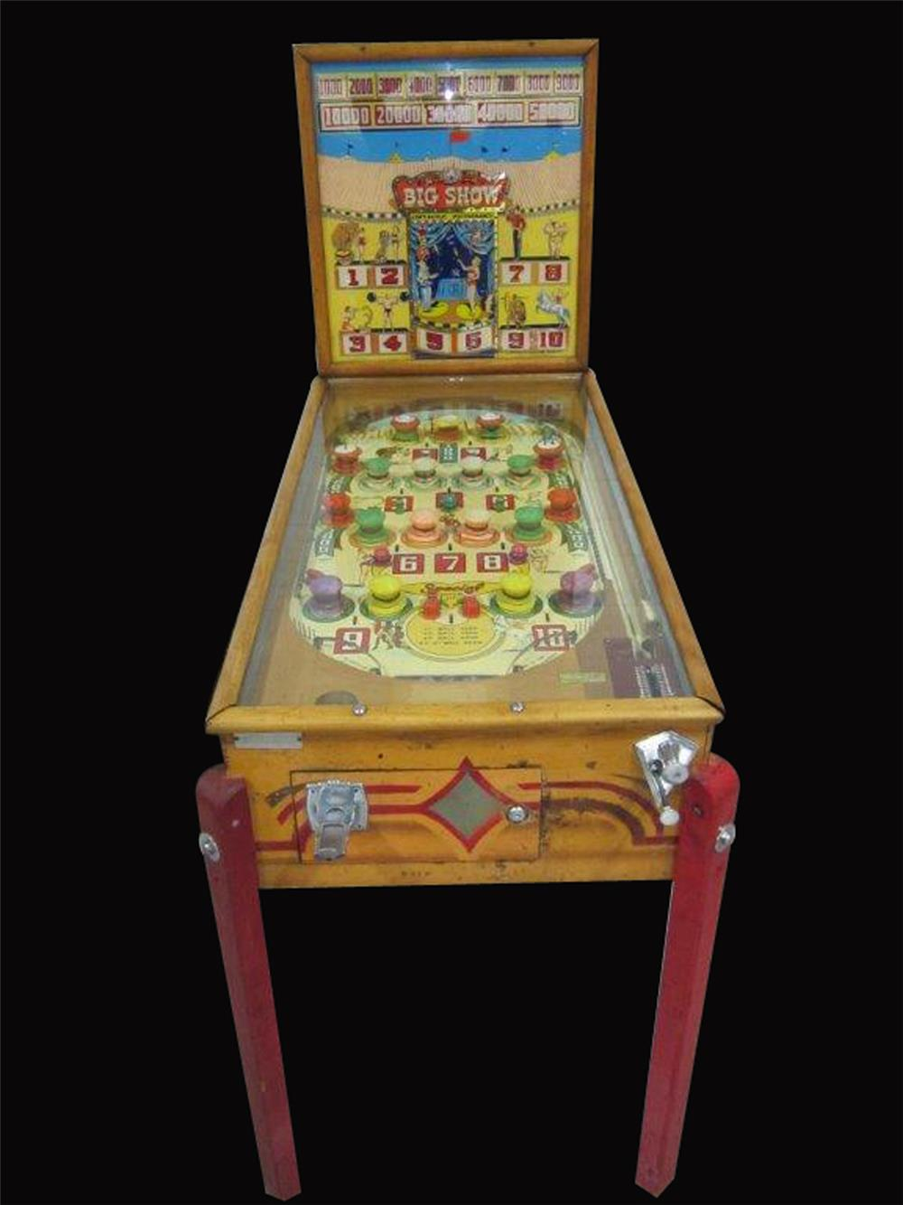 Seldom-seen 1956 Big Show coin-operated pinball machine by Bally Manufacturing. - Front 3/4 - 192433