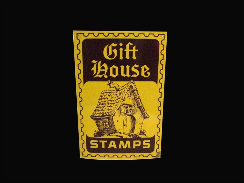Late 1950s Gift House Stamps single-sided tin service station sign with house logo. - Front 3/4 - 192450
