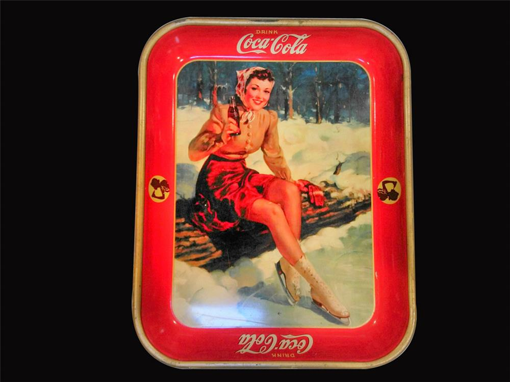 Wonderful 1941 Coca-Cola skater girl serving tray. - Front 3/4 - 192456