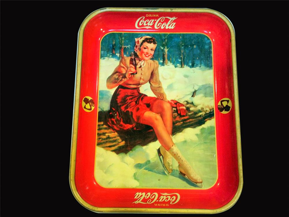 Stunning 1941 Coca-Cola diner serving tray featuring a skater girl. - Front 3/4 - 192457