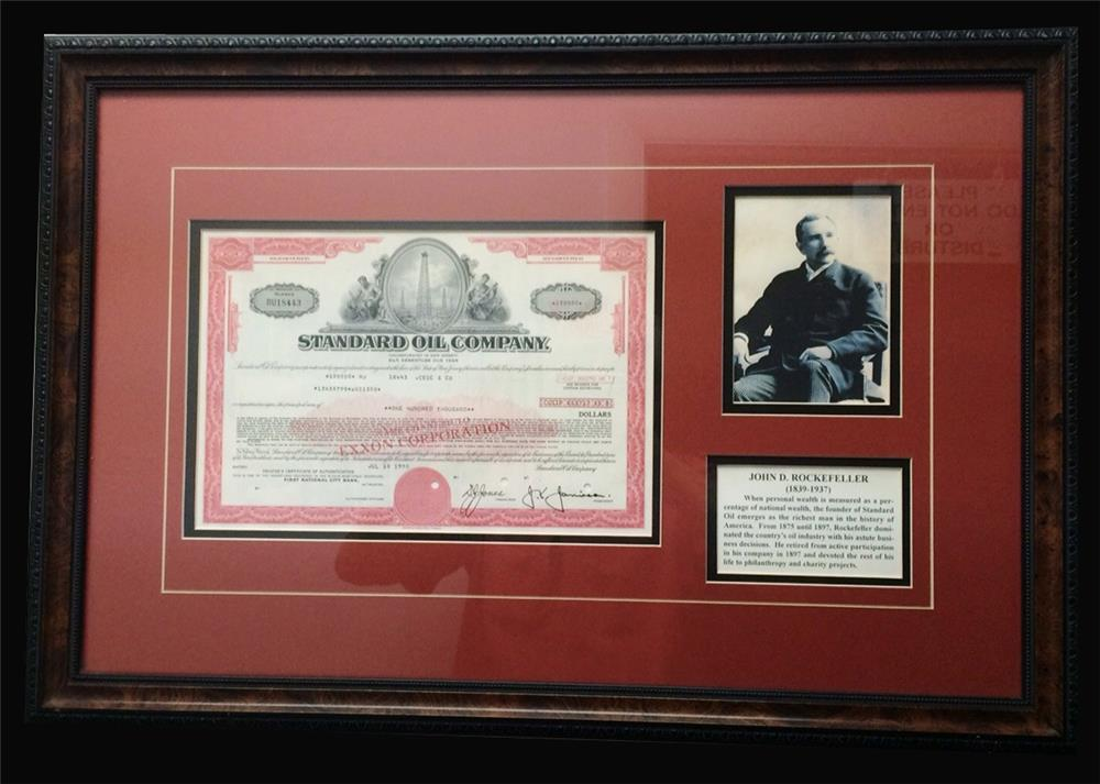 Very neat framed early Standard Oil $100,000 stock certificate. - Front 3/4 - 192464