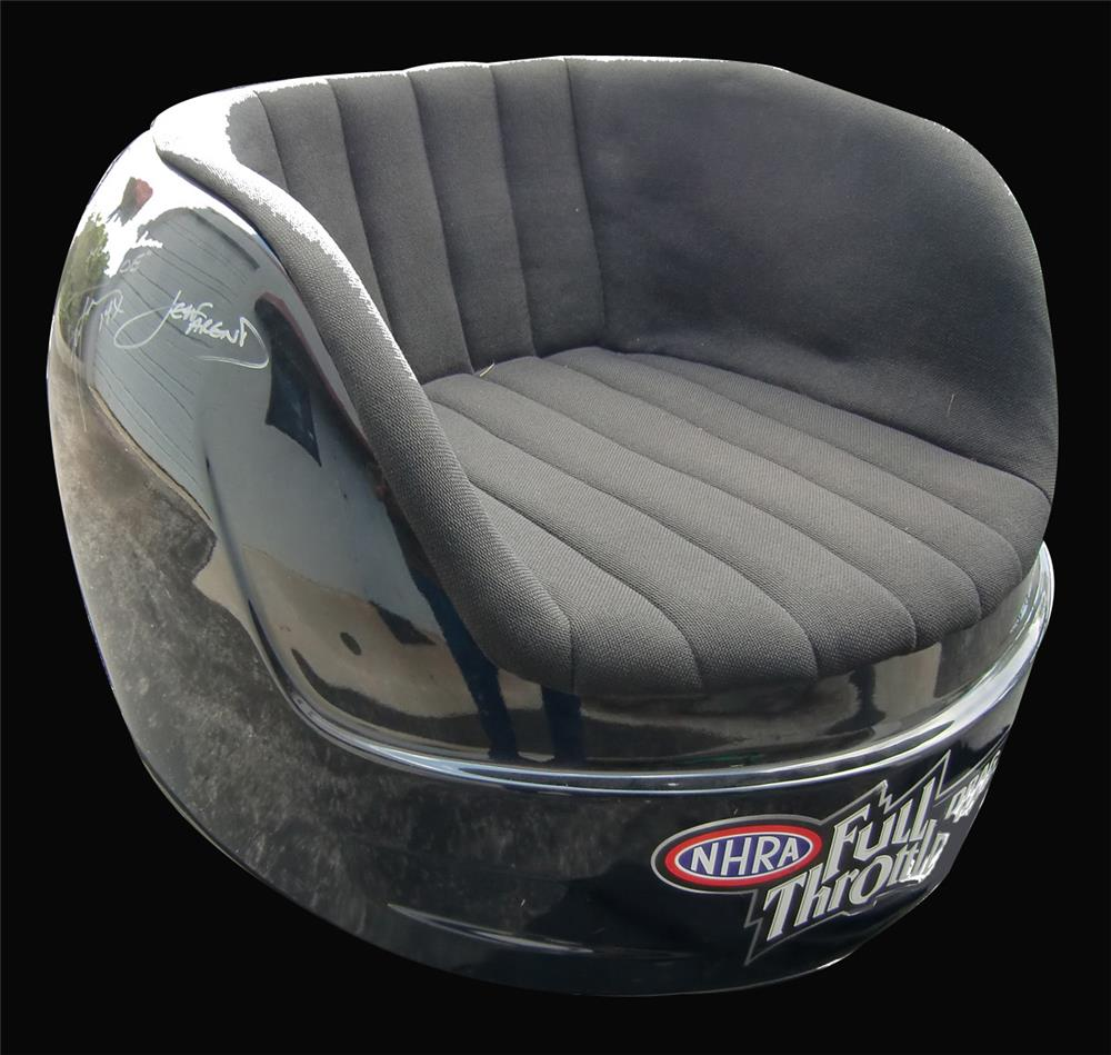 Darrell Gwynn's one of a kind, autographed black NHRA helmet chair - Front 3/4 - 192473