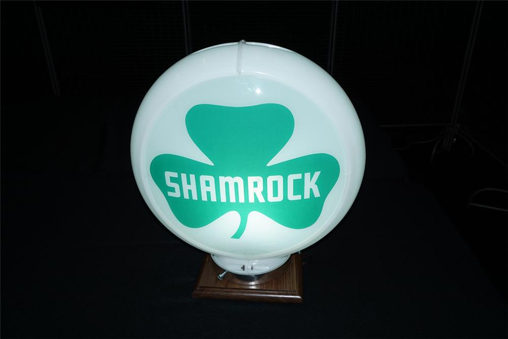 Addendum Item - Circa 1950s Shamrock Gasoline gas pump globe in a Capcolite body. - Front 3/4 - 193732