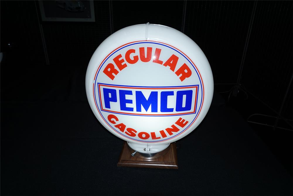 Addendum Item - Near perfect Pemco Regular Gasoline narrow bodied gas pump globe in a Capcolite body. - Front 3/4 - 193733