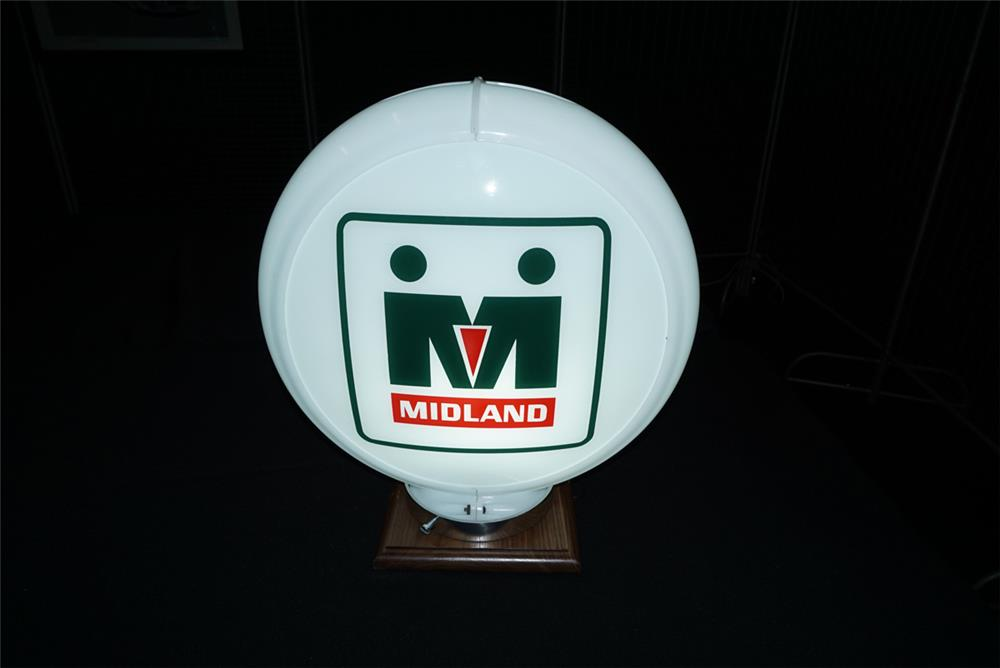 Addendum Item - Unusual Midland Co-op Gasoline globe in a Capcolite body. Condition: 9.0+ - Front 3/4 - 193739