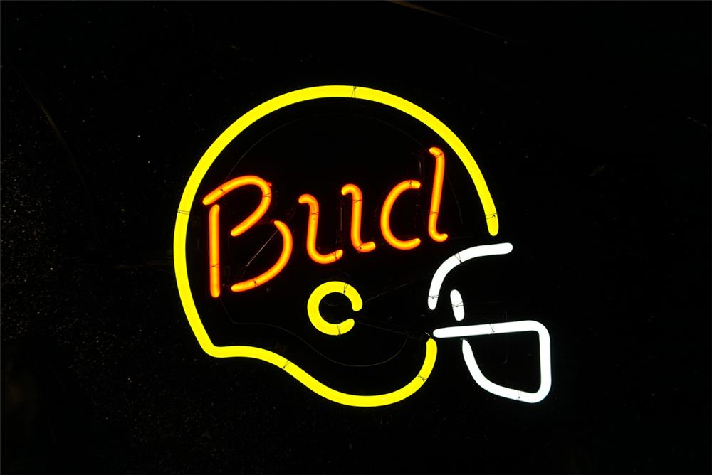 Addendum Item - Neat Bud Light Beer neon tavern sign with football motif. Lights brilliantly! - Front 3/4 - 193746