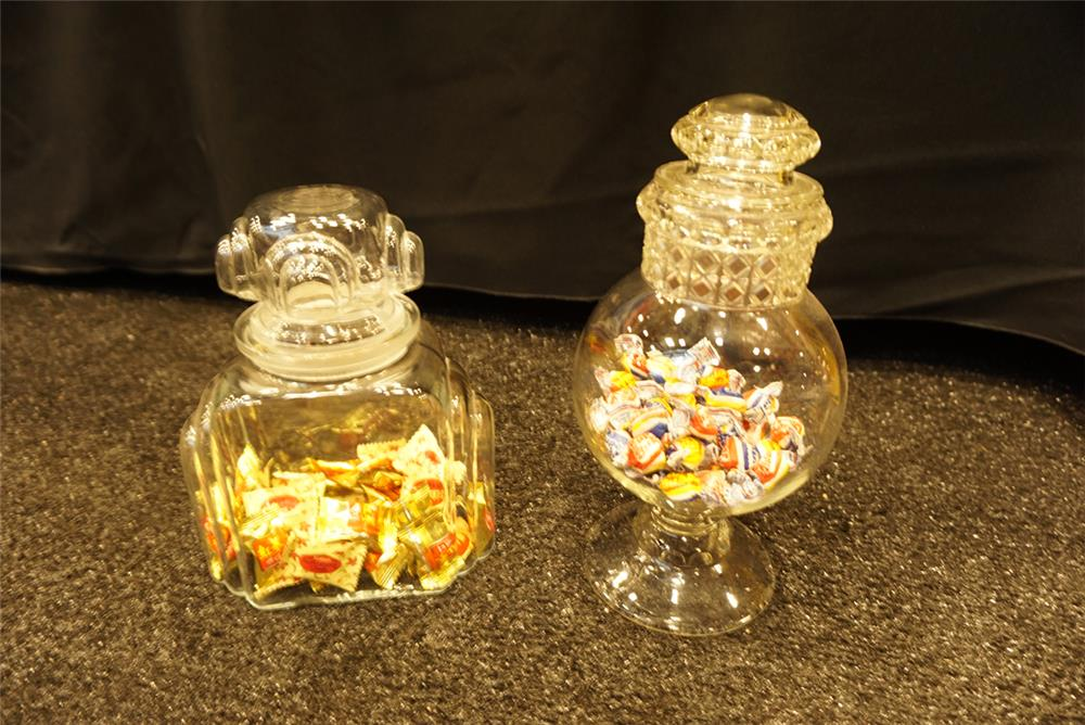 Addendum Item - Lot of two circa 1920's-30s soda fountain general store candy glass display jars. - Front 3/4 - 193762