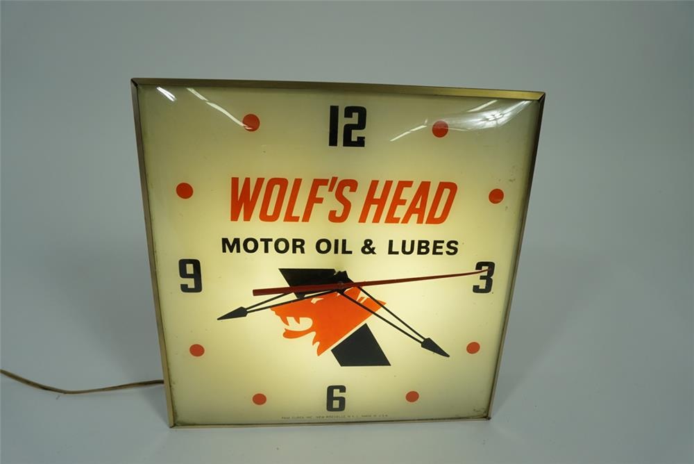Choice 1960s Wolf 39 S Head Motor Oil And Lube Glass Faced