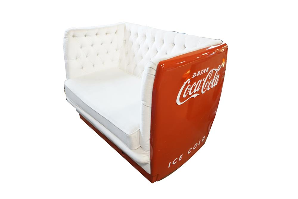 Very cool couch made from an original 1950s coca cola for Coole couch