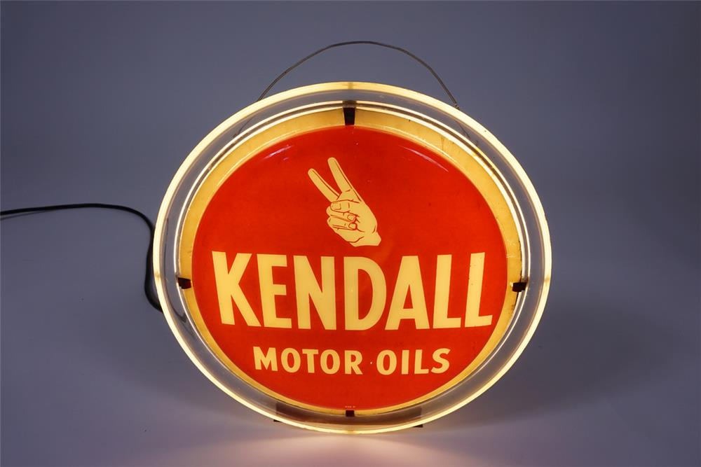 Scarce 1950s Kendall Motor Oil Light Up Countertop Sign