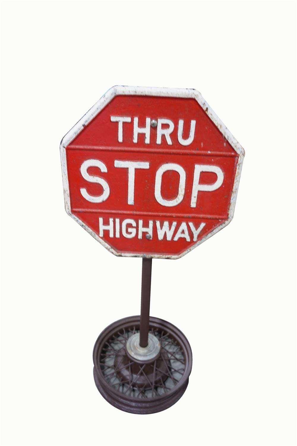 Whats My Car Worth Cast >> Circa 1930s Stop Thru Highway cast metal highway road sign on - 199649