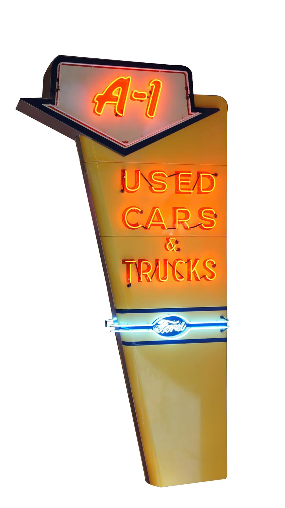 Lot #6396 Spectacular 1950s Ford A-1 Used Cars and Trucks double-sided neon porcelain dealership sign.