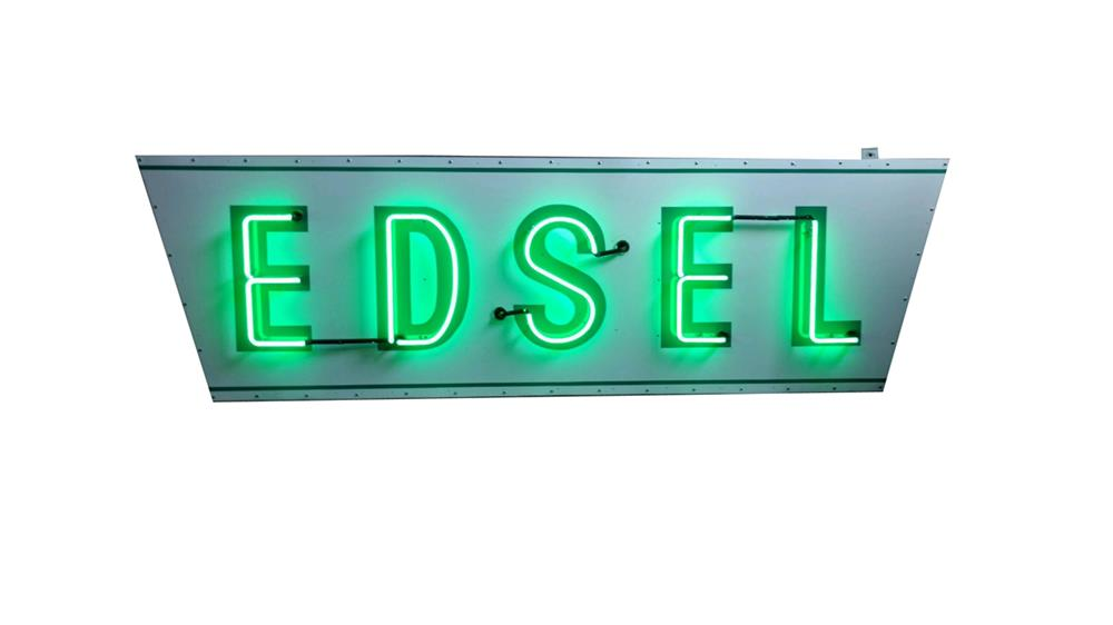 Lot #6294 Museum-quality circa 1958 Ford Edsel single-sided neon porcelain dealership sign.