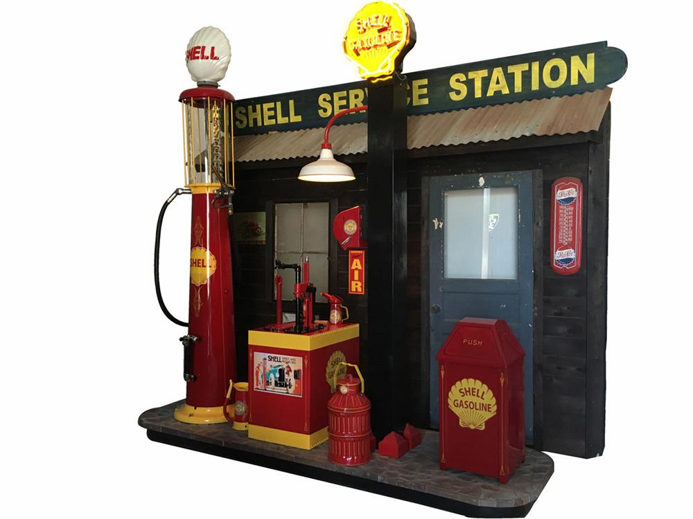 Lot #6281 Spectacular late-1920s-30s Shell Oil filling station diorama.
