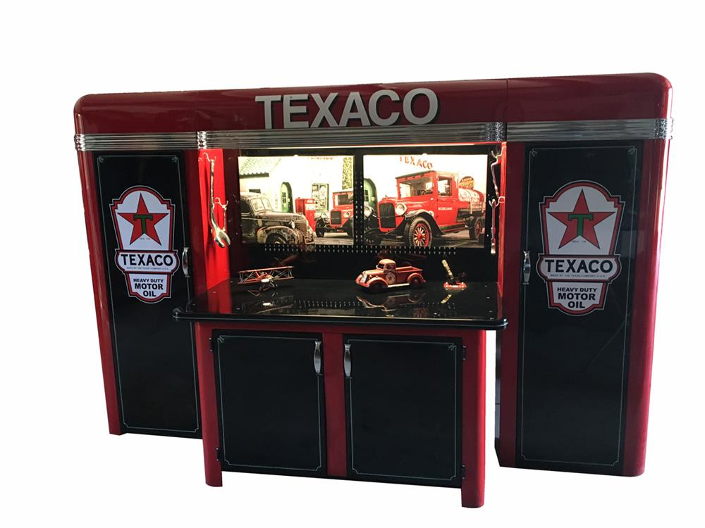 Lot #6388 Extremely scarce 1930s Alemite Texaco service department tool cabinet.