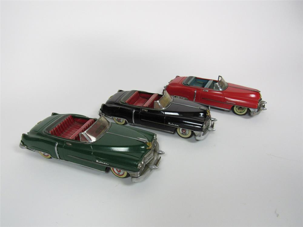 Lot of three 1952 Cadillac Convertibles tin litho friction toy cars by Alps. - Front 3/4 - 202459