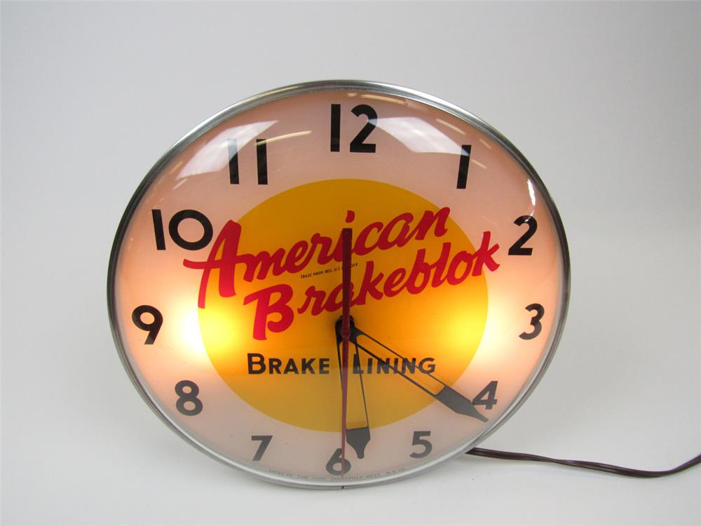 Very clean American BrakeBlok Brake Lining glass-faced light-up service station clock. - Front 3/4 - 202574