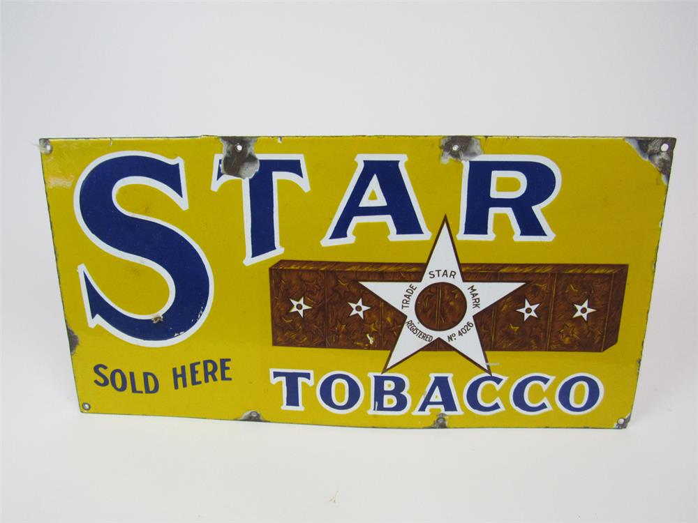 1930s Star Tobacco Sold Here single-sided porcelain general store sign. - Front 3/4 - 203095