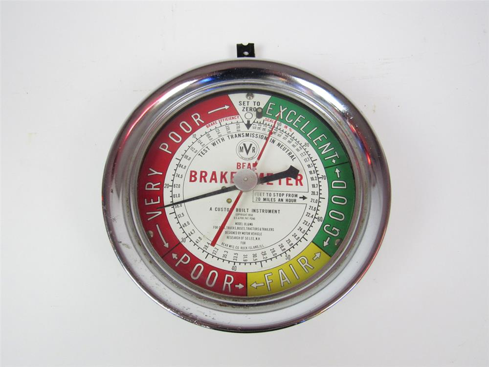 Found unused 1956 Bear Brake Meter service department gauge by Bear Manufacturing of Rock Island, IL. - Front 3/4 - 203116