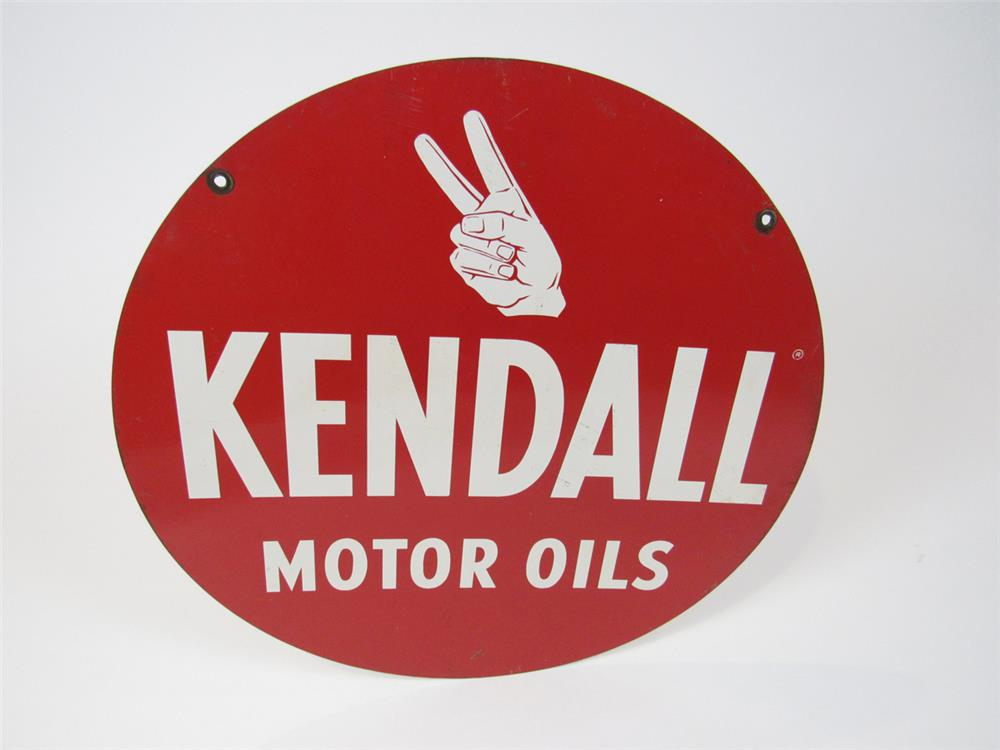 Very nice 1950s kendall motor oil double sided tin sign for Kendall motor oil distributors