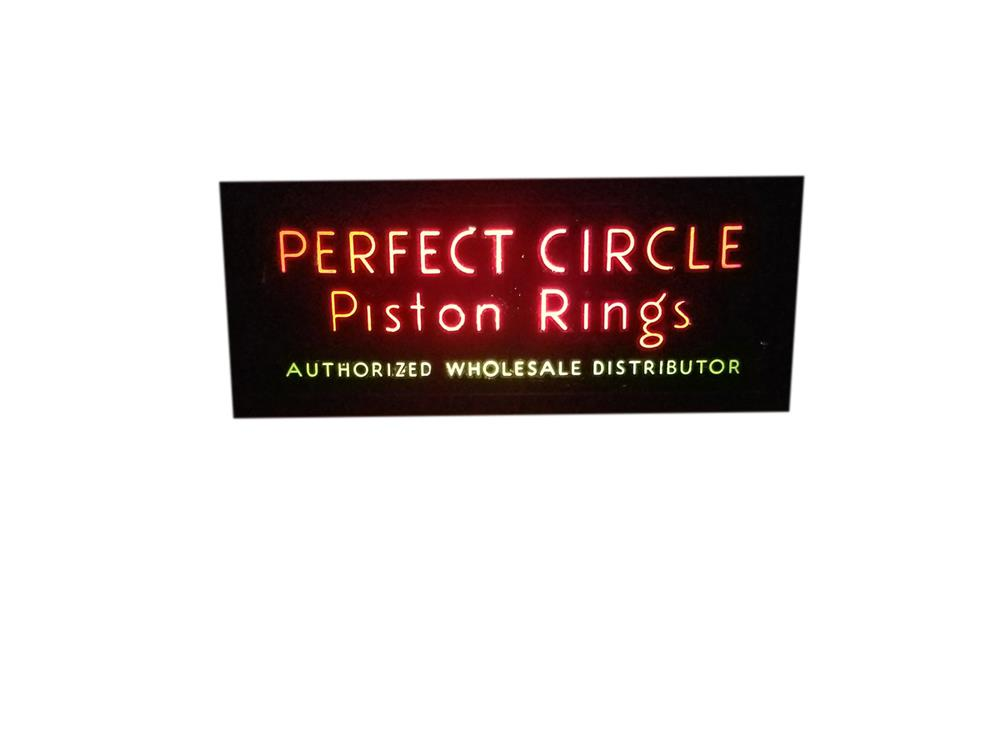 Scarce 1940s Perfect Circle Piston Rings lighted sign. - Front 3/4 - 209096