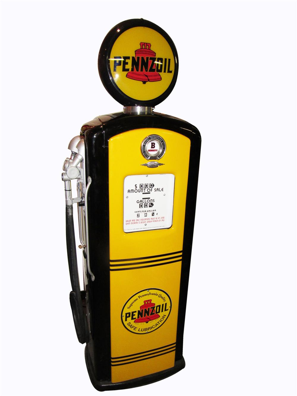 Magnificent early 1950s Pennzoil Gasoline Bennett model #766 restored service station gas pump. - Front 3/4 - 209178