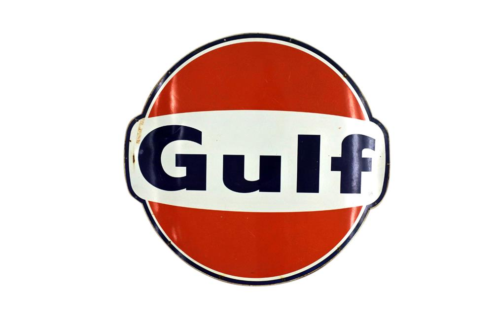 Impressive circa 1960s Gulf Oil single-sided porcelain service station sign. - Front 3/4 - 209217