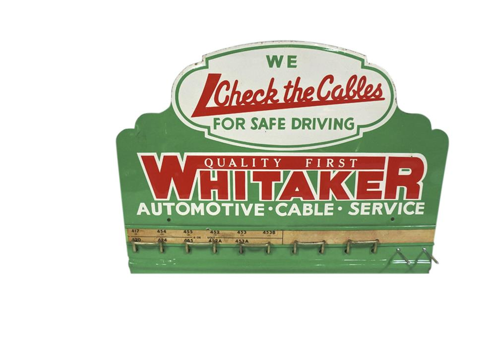 Choice 1950s Whitaker Automotive Cable Service single-sided embossed tin sign. - Front 3/4 - 209232