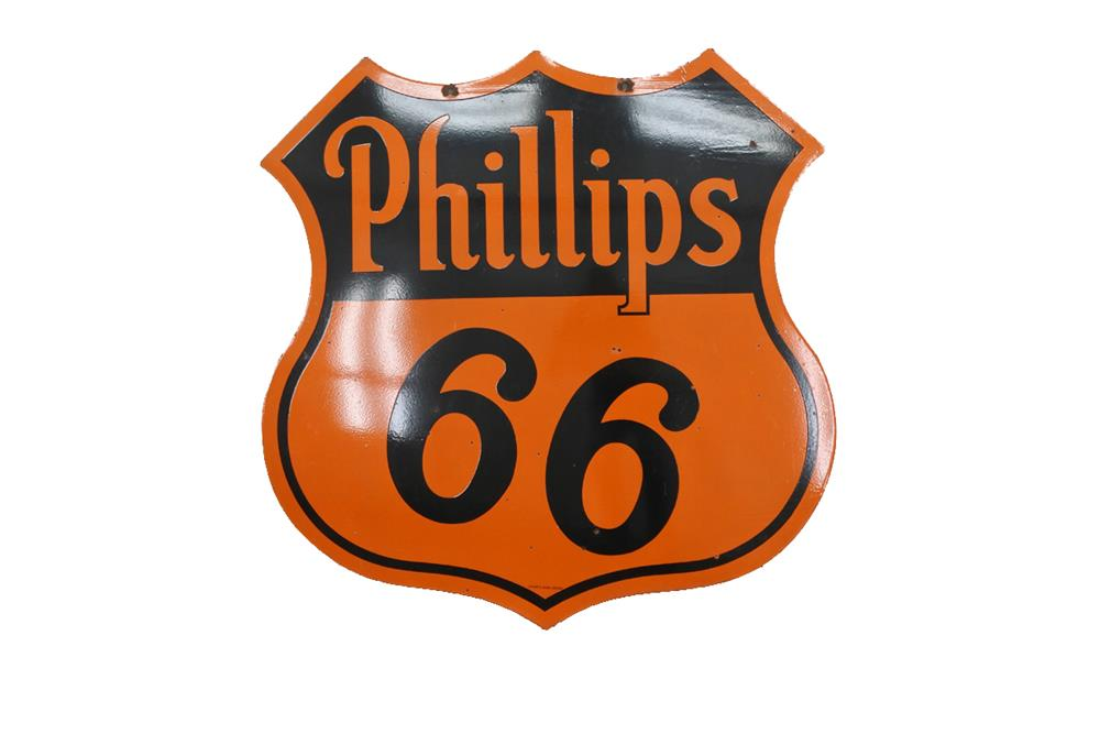 Exceptional circa 1940s-50s Phillips 66 Oil double-sided shield-shaped service station sign. - Front 3/4 - 209234