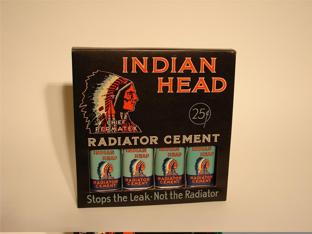 Nifty N.O.S. 1930s Indian Head Radiator Cement counter-top display with twelve unused tins. - Front 3/4 - 45708
