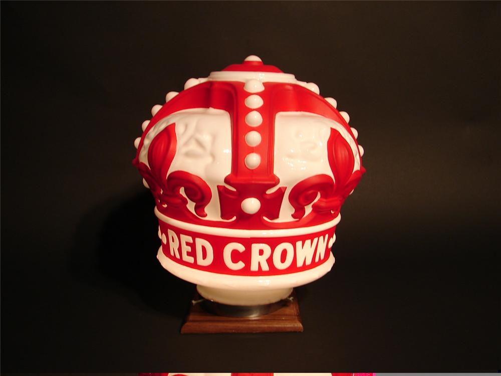 Extremely hard to find 1930s Standard Red Crown gasoline one-piece gas pump globe with embossed glass lettering. - Front 3/4 - 45709