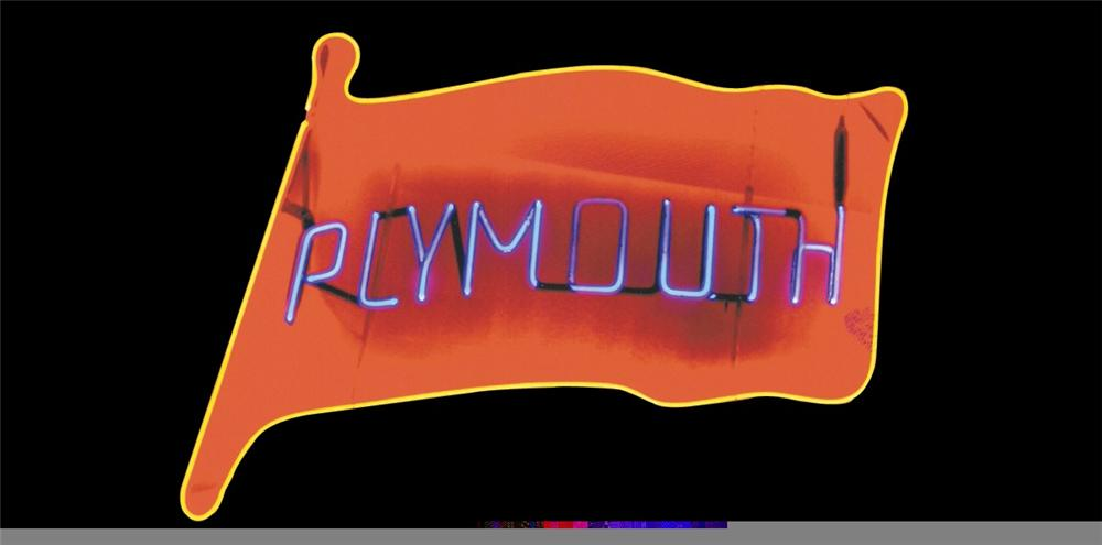 Splendid 1950s Plymouth Automobiles dealership window neon sign. - Front 3/4 - 45713