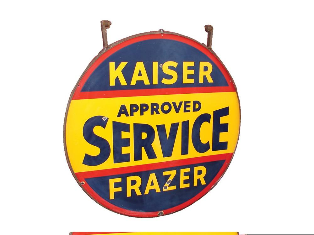 1940s Kaiser-Frazer double-sided porcelain dealership sign with original hanging bracket. - Front 3/4 - 45716