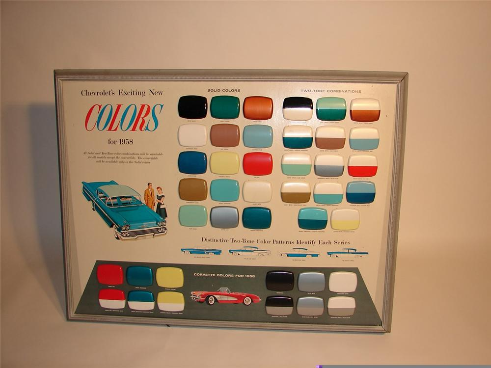 Incredible 1958 Chevrolet Automobile Colors showroom display piece featuring Corvette colors for 58. - Front 3/4 - 45753