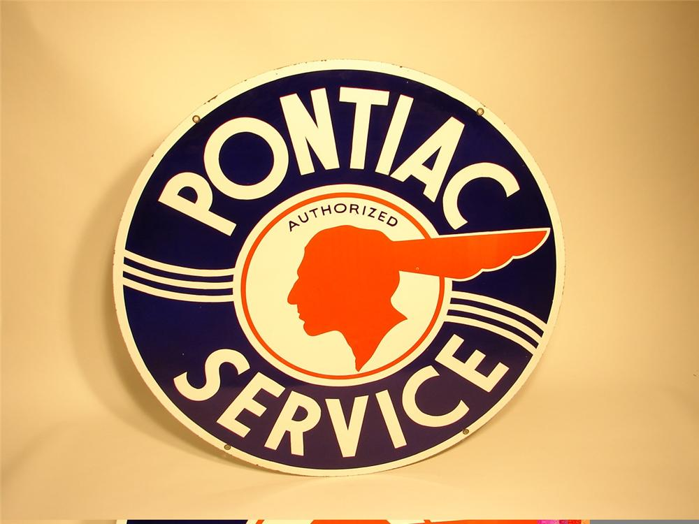 Very clean 1950s Pontiac Service double-sided porcelain dealership sign. - Front 3/4 - 45754