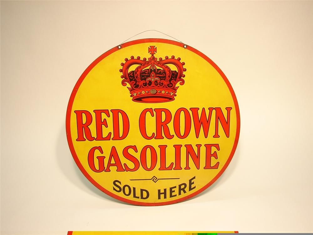 "Extremely rare late teens Red Crown Gasoline ""Sold Here"" double-sided tin station sign. - Front 3/4 - 45755"