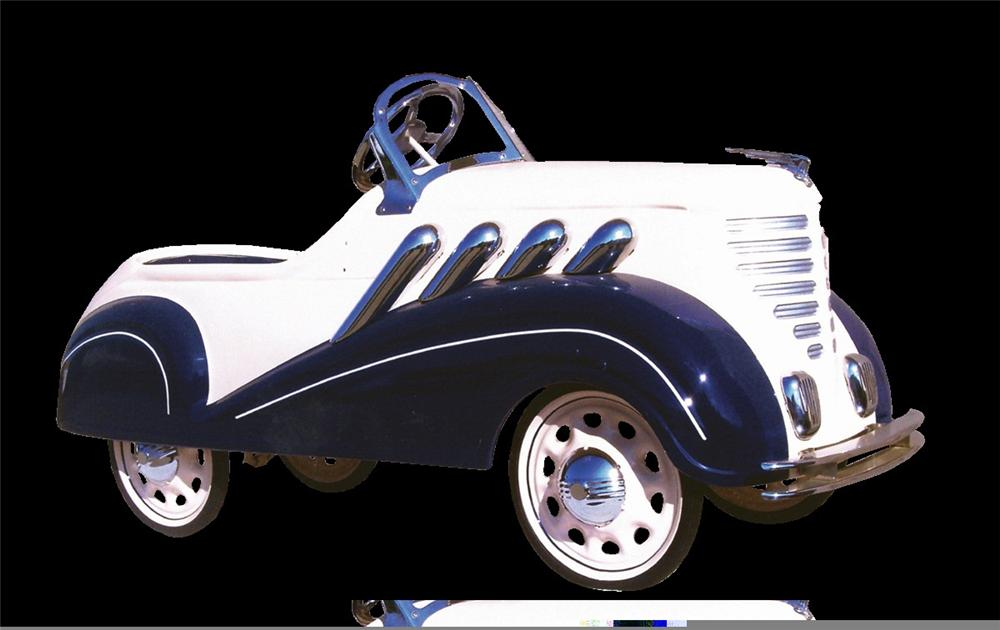 Magnificent 1935 Steelcraft Auburn Supercharger pedal car restored to show quality standards. - Front 3/4 - 45758