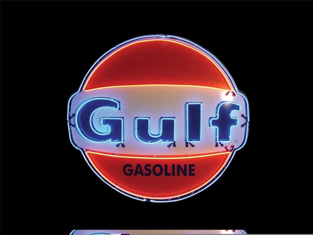 Neat early 1960s Gulf Gasoline single-sided porcelain neon station sign - Front 3/4 - 45760
