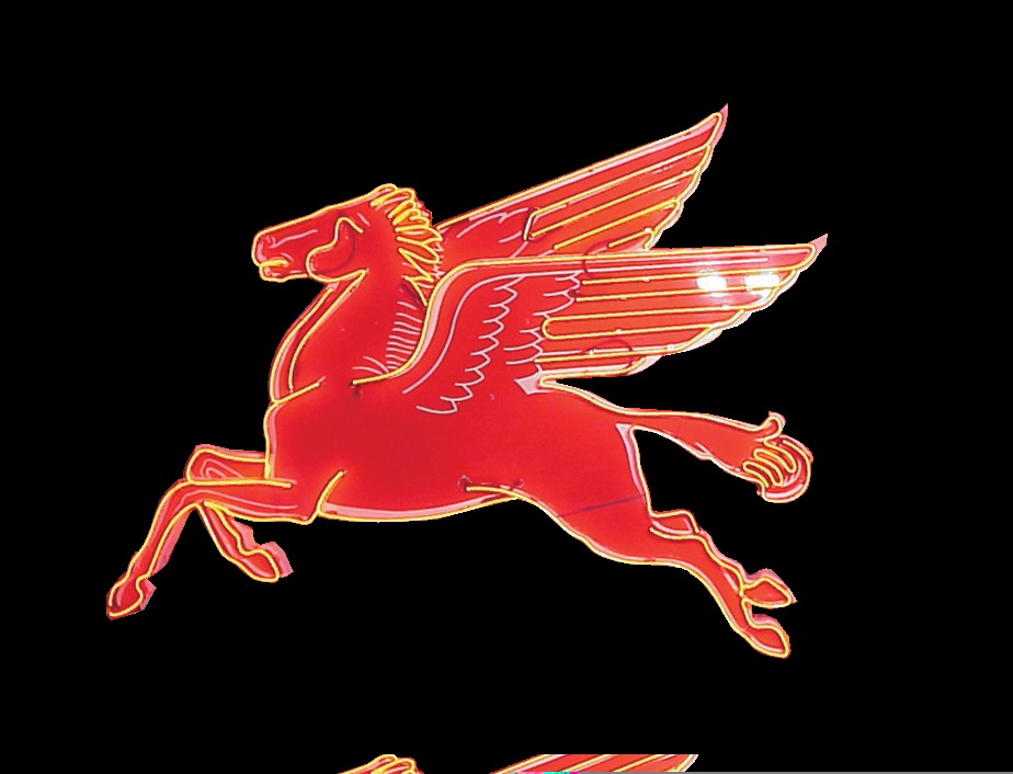 Extraordinary 1950s Mobil station neon porcelain Pegasus sign. - Front 3/4 - 45761
