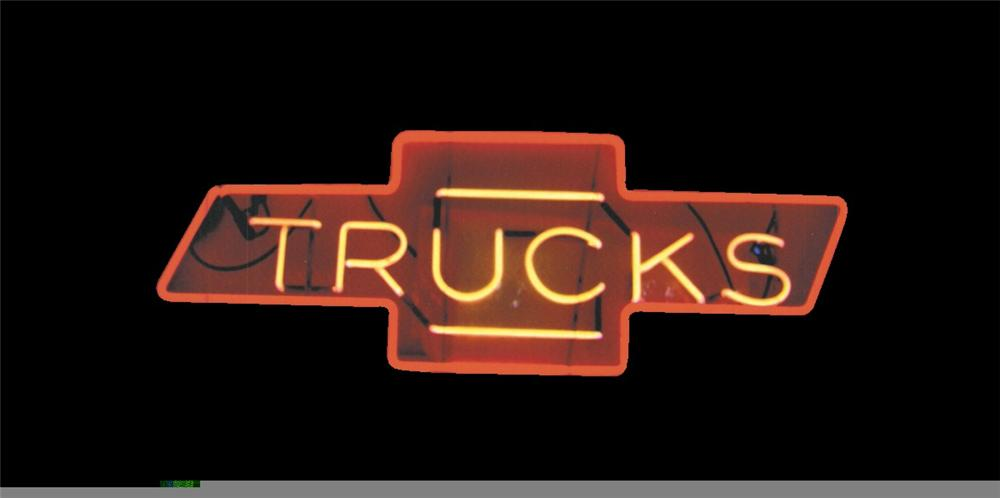 "Marvelous 1950s Chevrolet ""Trucks"" Bow-tie dealership window neon sign. - Front 3/4 - 45970"