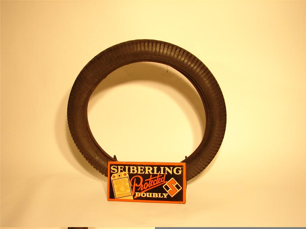 Interesting 1920s Sieberling Tires metal garage display with period tire. - Front 3/4 - 45972