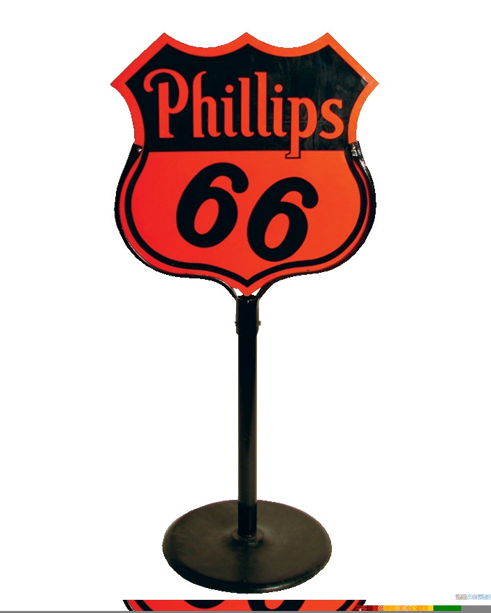 Killer N.O.S. 1954 Phillips 66 double-sided porcelain curb sign in stand. - Front 3/4 - 45977