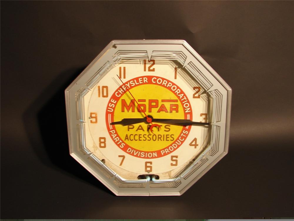 Desirable late 30s-40s Mopar Parts and Accessories neon dealership clock. - Front 3/4 - 45978